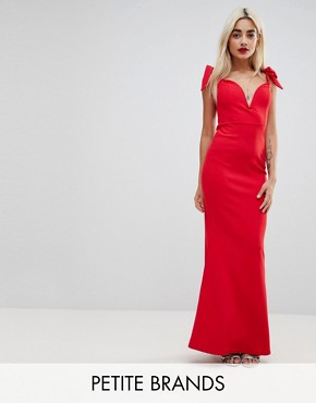 photo Plunge Neck Fluted Hem Maxi Dress by Missguided Petite, color Red - Image 1