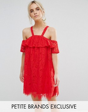 photo Cold Shoulder Lace Shift Dress by Missguided Petite, color Red - Image 1