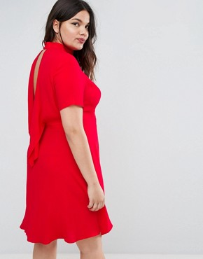 photo Tea Dress with Ruffle Back by ASOS CURVE, color Red - Image 2