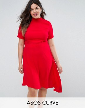 photo Tea Dress with Ruffle Back by ASOS CURVE, color Red - Image 1