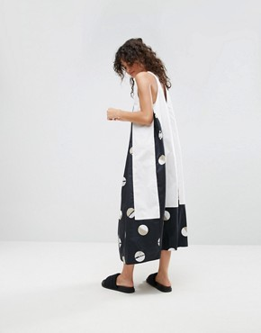 photo Midi Dress in Shaded Circle Print by ASOS WHITE, color Black - Image 2