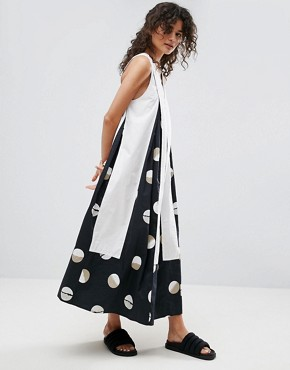 photo Midi Dress in Shaded Circle Print by ASOS WHITE, color Black - Image 1
