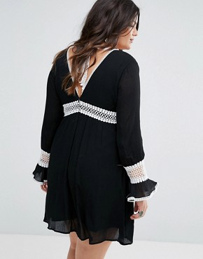 photo Lace Insert Skater Dress by Missguided Plus, color Black - Image 2