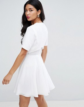 photo Bird Embroidered Crop Top Skater Mini Dress by ASOS, color White - Image 2