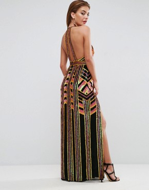 photo Geometric Embellished Maxi Dress by ASOS RED CARPET, color Multi - Image 2