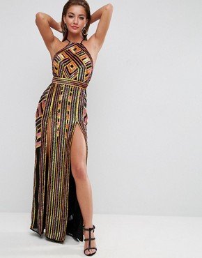photo Geometric Embellished Maxi Dress by ASOS RED CARPET, color Multi - Image 1