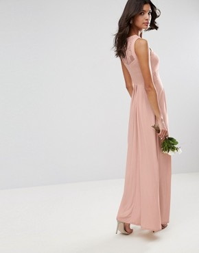photo Lace Top Pleated Maxi Dress by ASOS WEDDING, color Nude - Image 2