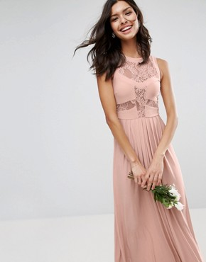 photo Lace Top Pleated Maxi Dress by ASOS WEDDING, color Nude - Image 3