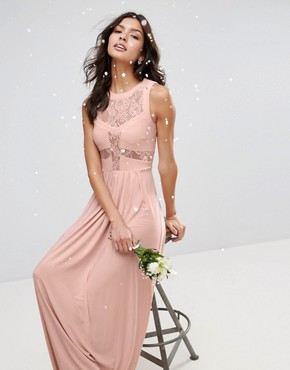 photo Lace Top Pleated Maxi Dress by ASOS WEDDING, color Nude - Image 4