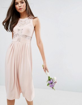 photo Lace Top Pleated Midi Dress by ASOS WEDDING, color Nude - Image 1