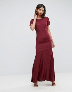 photo Cut Out Back Maxi Dress with Seam Detail by ASOS, color Red - Image 1