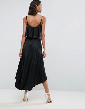 photo Crop Ruffle Soft Midi Prom Dress by ASOS, color Black - Image 2