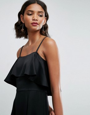 photo Crop Ruffle Soft Midi Prom Dress by ASOS, color Black - Image 3