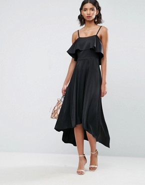 photo Crop Ruffle Soft Midi Prom Dress by ASOS, color Black - Image 4