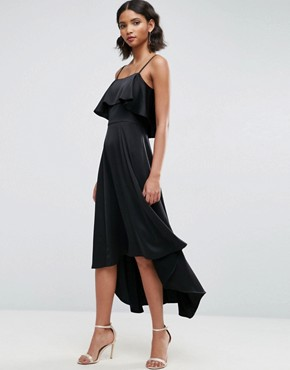 photo Crop Ruffle Soft Midi Prom Dress by ASOS, color Black - Image 1