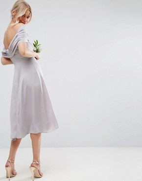 photo Bow Front Soft Midi Prom Dress by ASOS WEDDING, color Lilac Grey - Image 2