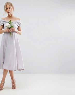 photo Bow Front Soft Midi Prom Dress by ASOS WEDDING, color Lilac Grey - Image 1