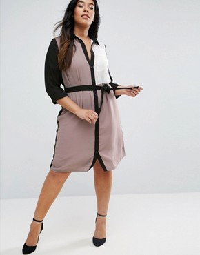 photo Plus Shirt Dress in Colour Block by Lovedrobe, color Black/Oatmeal - Image 2