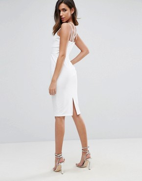 photo Gold Metal Insert Midi Bodycon Dress by ASOS, color White - Image 2