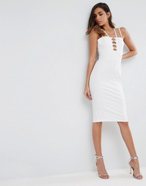 photo Gold Metal Insert Midi Bodycon Dress by ASOS, color White - Image 1
