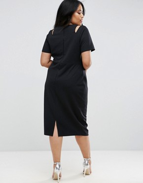 photo Midi Pencil Dress with Cut Out Shoulders by ASOS CURVE, color Black - Image 2