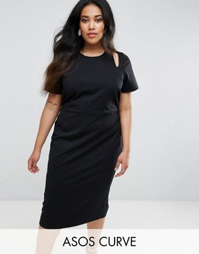 photo Midi Pencil Dress with Cut Out Shoulders by ASOS CURVE, color Black - Image 1