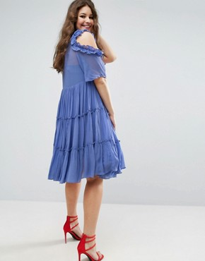 photo Multi Layer Ruffle Tulle Swing Dress by ASOS CURVE PREMIUM, color Blue - Image 2