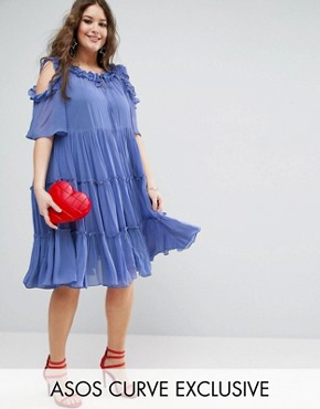 photo Multi Layer Ruffle Tulle Swing Dress by ASOS CURVE PREMIUM, color Blue - Image 1