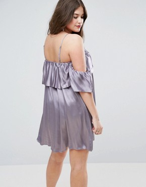 photo Structured Swing Dress with Ruffle Off Shoulder by ASOS CURVE, color Silver Lilac - Image 2