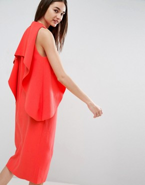 photo Cross Wrap Midi Dress with Bonded Frill Neckline by ASOS WHITE, color Red - Image 2