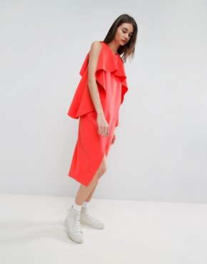 photo Cross Wrap Midi Dress with Bonded Frill Neckline by ASOS WHITE, color Red - Image 1