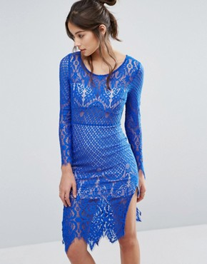 photo Lace Pencil Midi Dress by Love Triangle, color Blue - Image 1