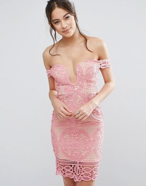 photo Bardot Mini Dress with Sweetheart Neck by Love Triangle, color Pink - Image 1
