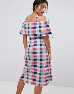 photo Off Shoulder Check Midi Dress by ASOS Maternity TALL, color Multi - Image 2