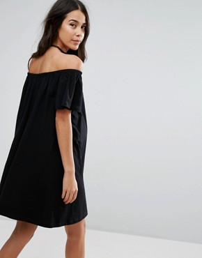 photo Off Shoulder Mini Dress by ASOS Maternity TALL, color Black - Image 2