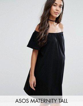 photo Off Shoulder Mini Dress by ASOS Maternity TALL, color Black - Image 1