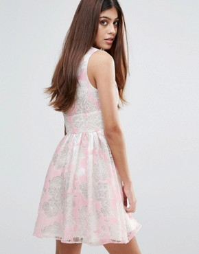 photo Flocked Print Organza Dress by Zibi London, color Pink - Image 2