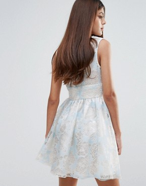 photo Flocked Print Organza Dress by Zibi London, color Blue - Image 2