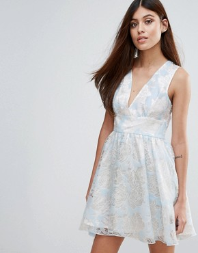 photo Flocked Print Organza Dress by Zibi London, color Blue - Image 1
