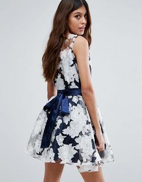 photo Organza Floral Dress with Satin Sash by Zibi London, color Blue - Image 2