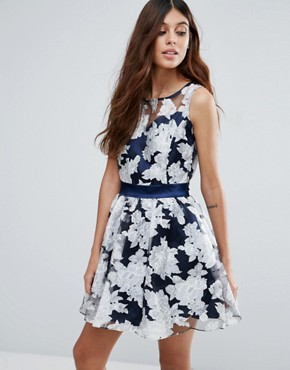 photo Organza Floral Dress with Satin Sash by Zibi London, color Blue - Image 1