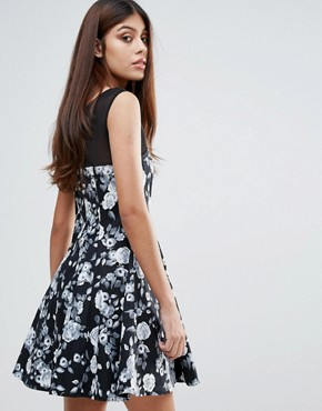 photo Floral Skater Dress by Zibi London, color Black/White - Image 2