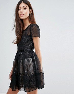 photo Organza Tiered Short Sleeve Dress by Zibi London, color Black - Image 1