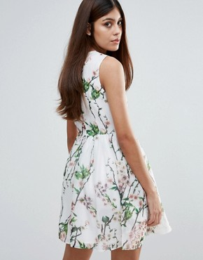 photo Organza Floral Printed Dress by Zibi London, color Multi - Image 2