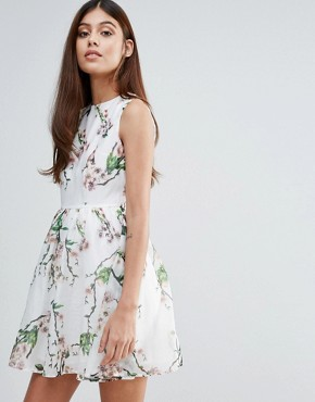 photo Organza Floral Printed Dress by Zibi London, color Multi - Image 1
