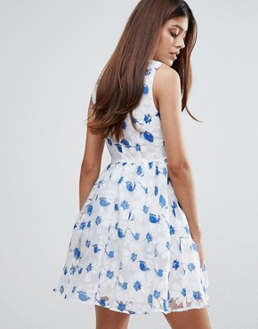photo Organza Floral Printed Dress by Zibi London, color Navy - Image 2