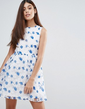 photo Organza Floral Printed Dress by Zibi London, color Navy - Image 1