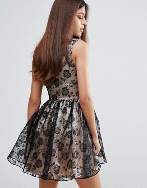 photo Flocked Print Organza Dress by Zibi London, color Black Nude - Image 2