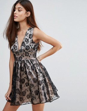 photo Flocked Print Organza Dress by Zibi London, color Black Nude - Image 1