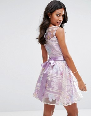 photo Organza Floral Dress with Satin Sash by Zibi London, color Lilac - Image 2